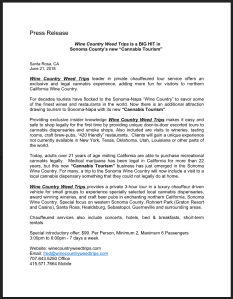 Wine Country Weed Trips Press Release
